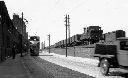 Tram and LNER train at Lower Granton Road pre 1948